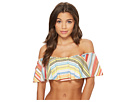 Vince Camuto Cabana Stripes Ruffle Off the Shoulder Bikini Top w/ Removable Soft Cups Strap