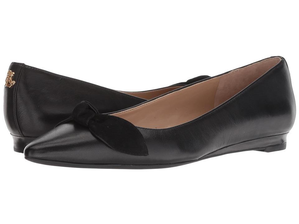 LAUREN Ralph Lauren Amarinda (Black/Black Super Soft Leather/Kid Suede) Flats