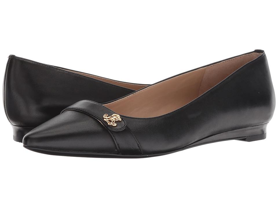 LAUREN Ralph Lauren Aminah (Black Super Soft Leather) Flats