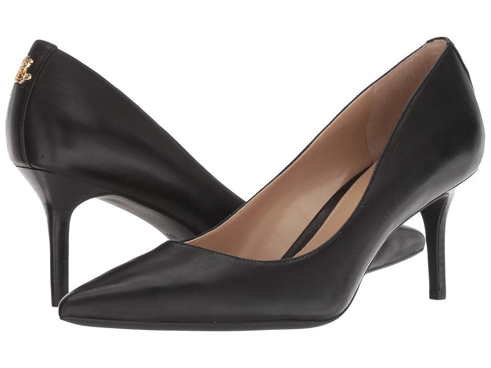 LAUREN Ralph Lauren Lanette (Black Super Soft Leather) Women's Shoes