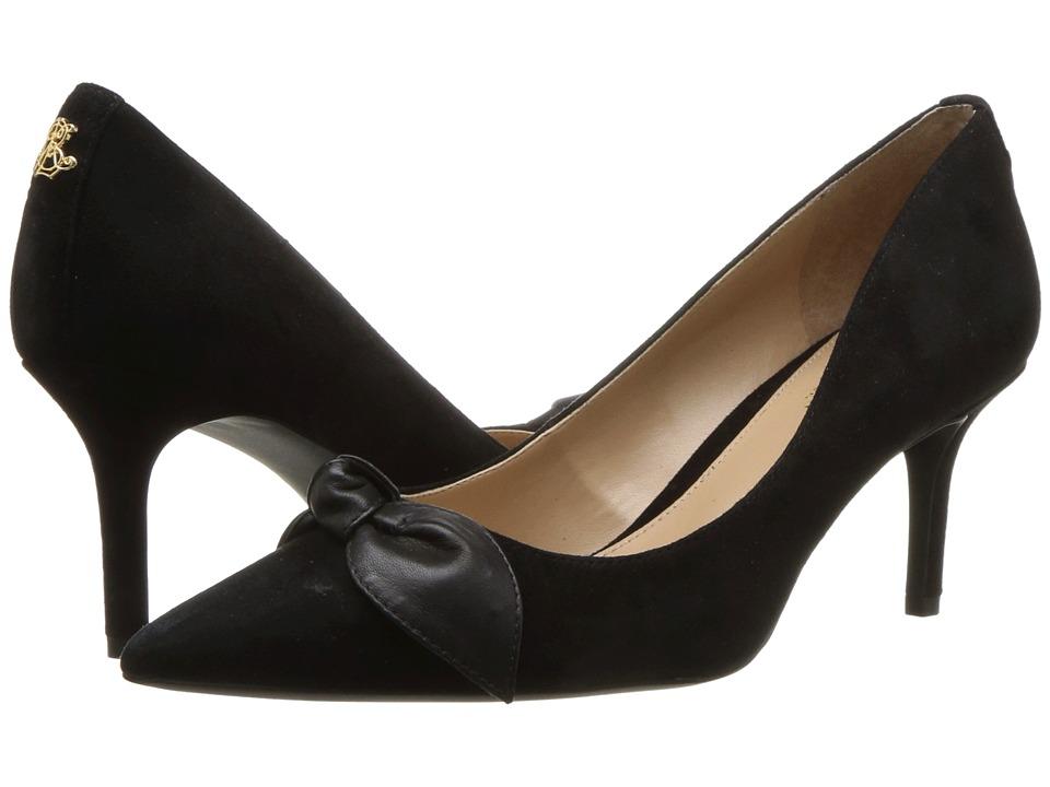 LAUREN Ralph Lauren Lee (Black/Black Kid Suede/Super Soft Leather) Women's Shoes