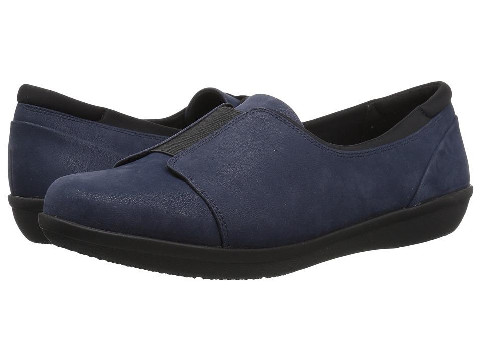 Clarks Ayla Band (Navy Synthetic Nubuck) Women's Shoes