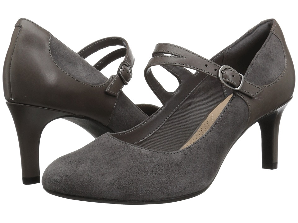 Clarks Dancer Reece (Grey Suede/Leather Combination) Women's Shoes