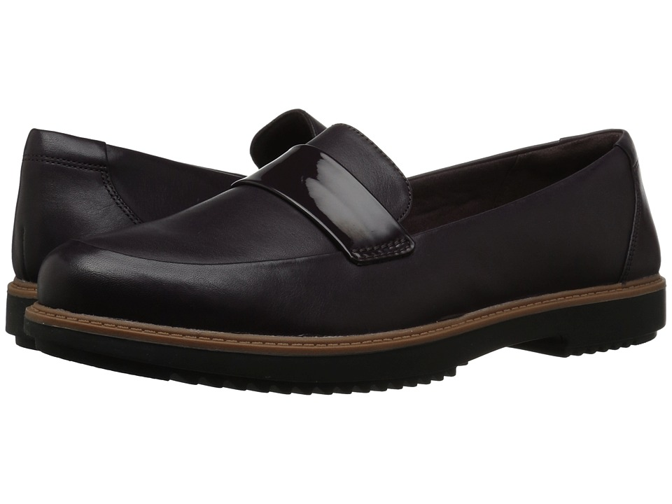 Clarks Raisie Arlie (Aubergine Leather) Women's Shoes
