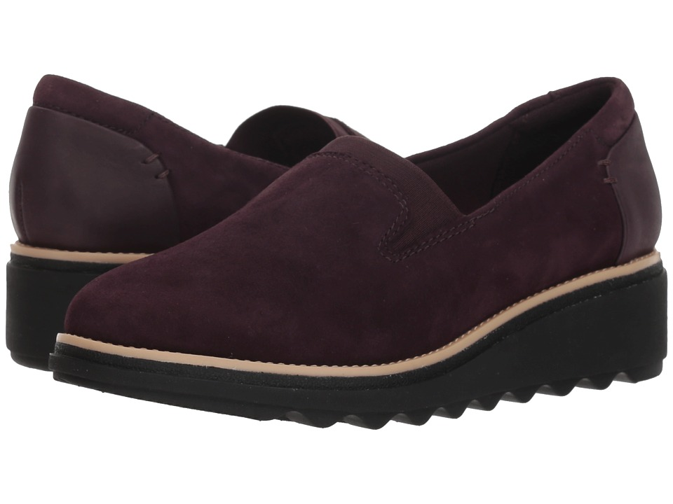 Clarks Sharon Dolly (Aubergine Suede) Women's Shoes