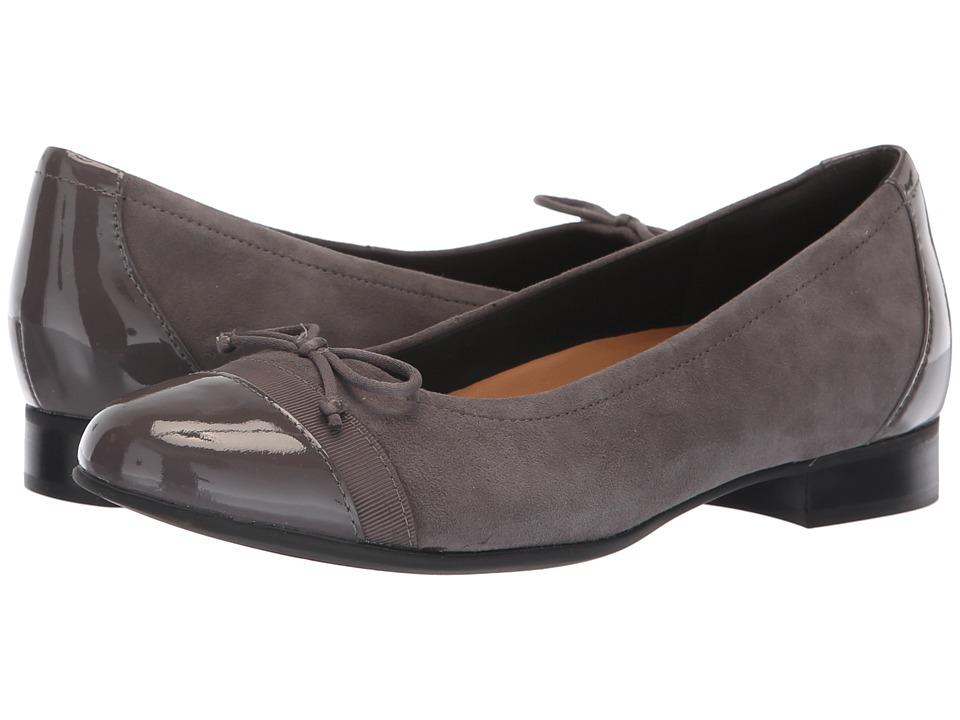 Clarks Un Blush Cap (Grey Suede/Patent Leather Combination) Women's Shoes