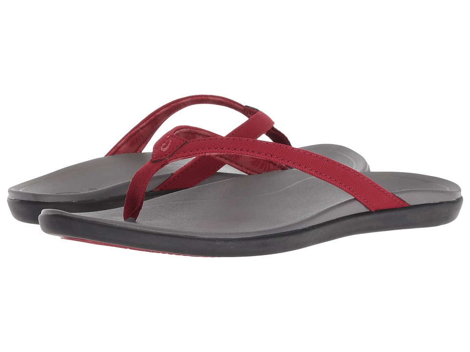 OluKai Ho'opio (Red Dahlia/Charcoal) Sandals