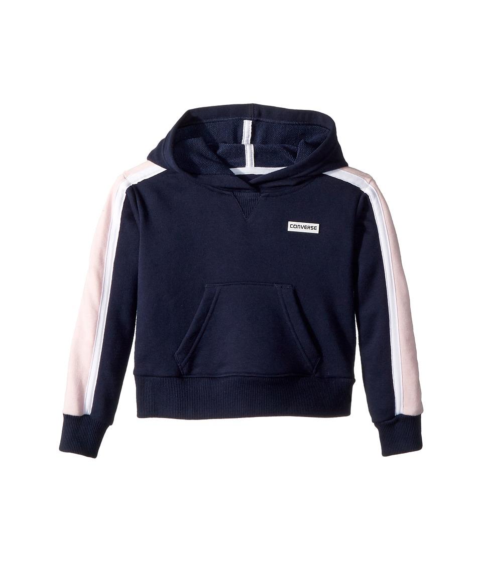 Converse Kids - Retro Trim Cropped Pullover (Little Kids) (Deep Blue) Girls Sweatshirt