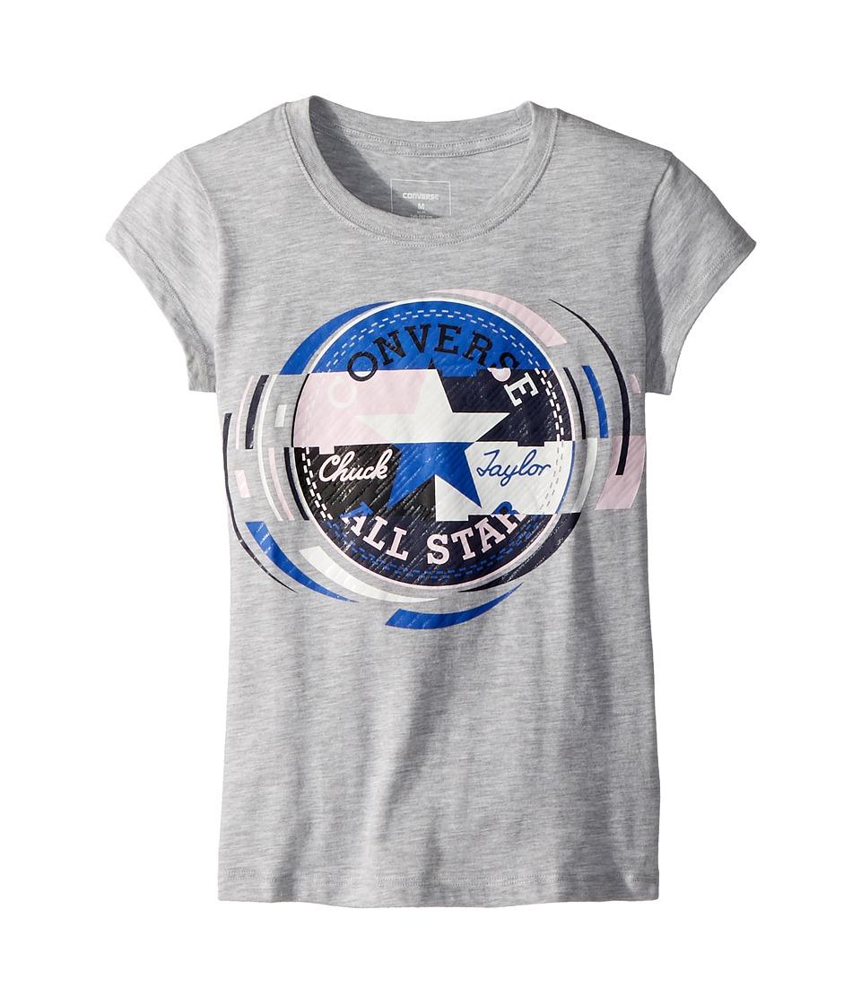 Converse Kids - Retro Throwback Chuck Patch Tee (Big Kids) (Grey/Pink) Girls T Shirt