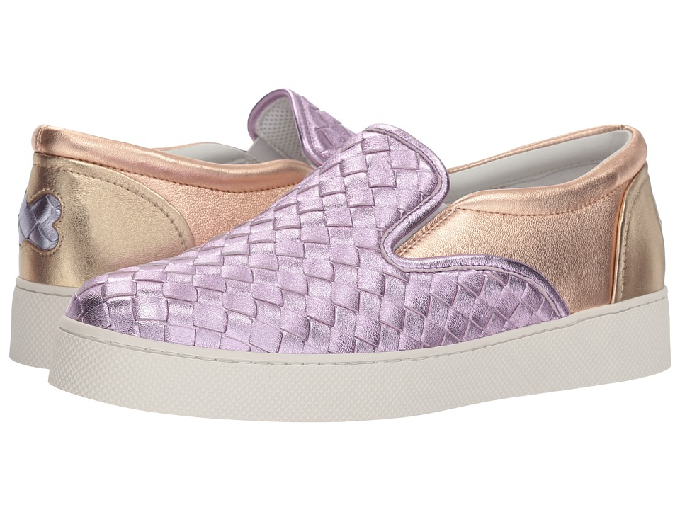 Bottega Veneta Metallic Intrecciato Slip-On Sneaker (Dragee) Women's Shoes