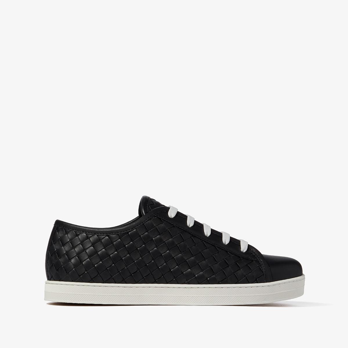 Bottega Veneta Intrecciato Lace-Up Sneaker (Black)