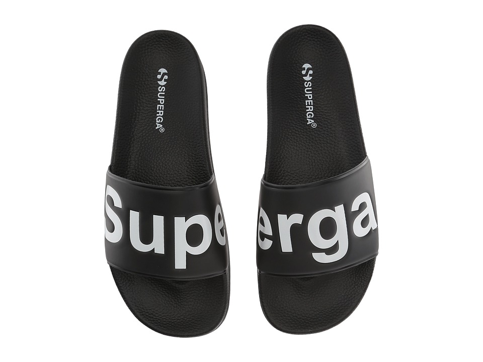 Superga - 1908 Slides Sandal (Black/White) Womens Shoes