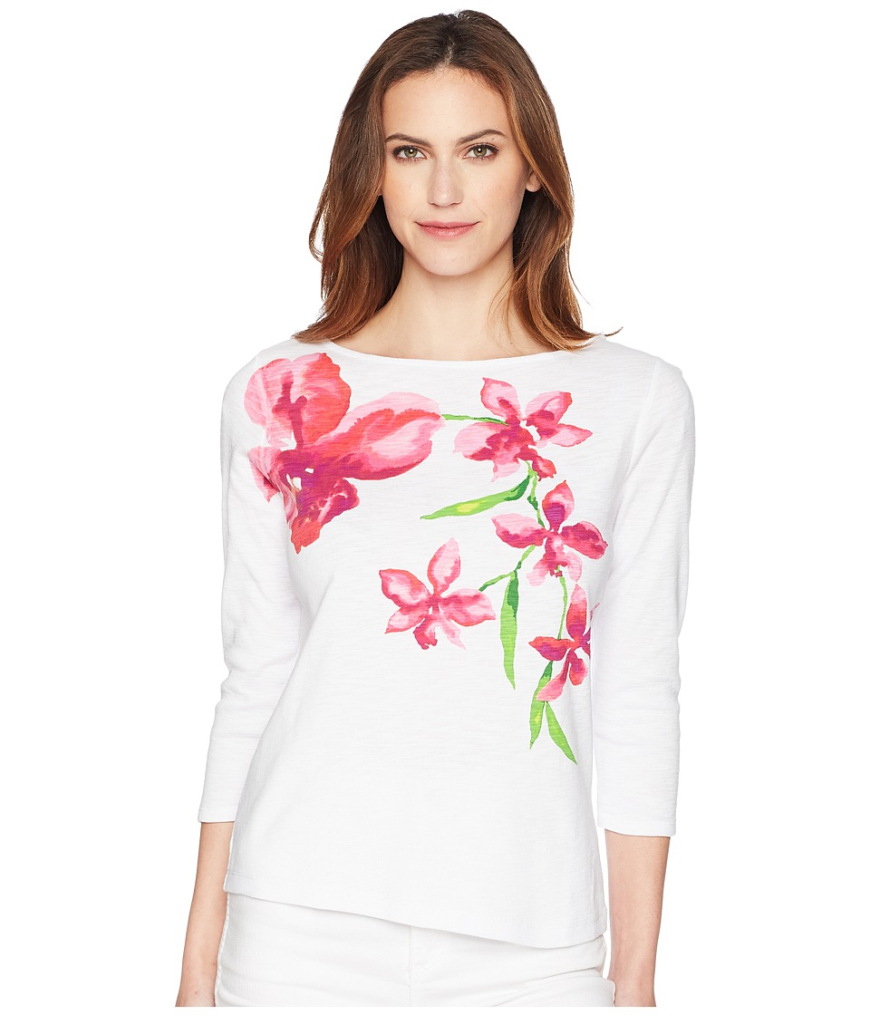 Tommy Bahama Floral Fade 3/4 Sleeve Tee (White) Women's T...
