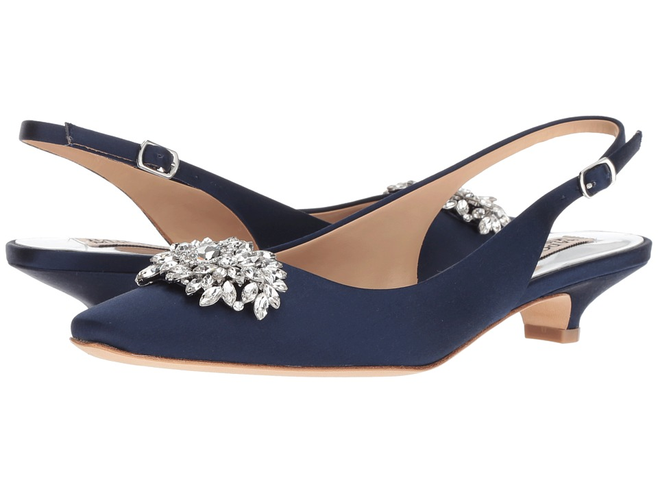 Badgley Mischka Page (Midnight Satin) 1-2 inch heel Shoes