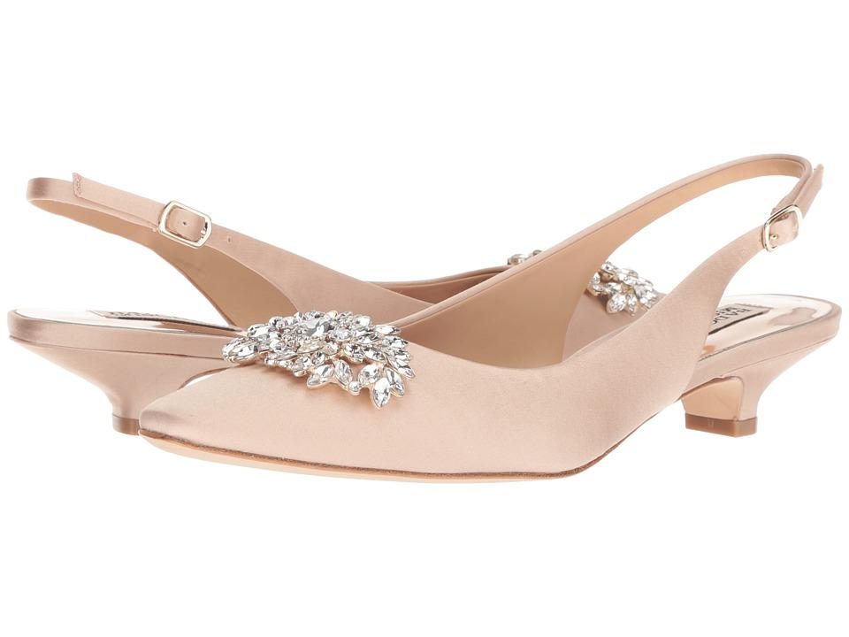 Badgley Mischka Page (Latte Satin) 1-2 inch heel Shoes