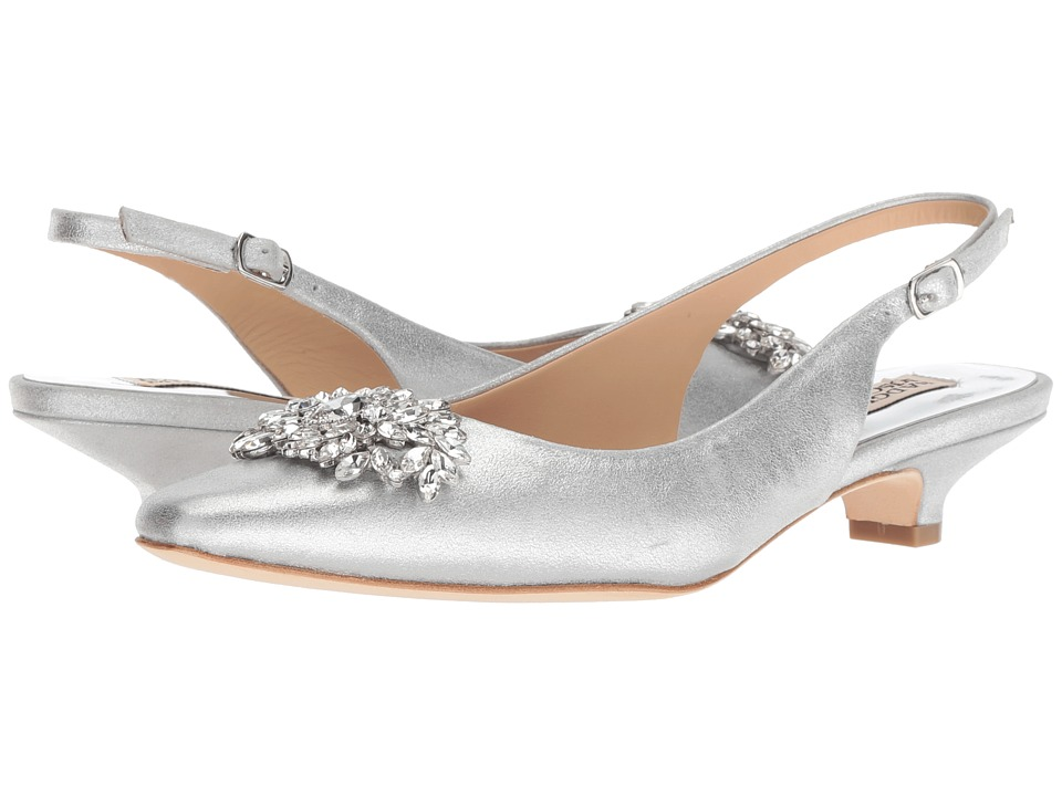 Badgley Mischka Page II (Silver Metallic Suede) 1-2 inch heel Shoes