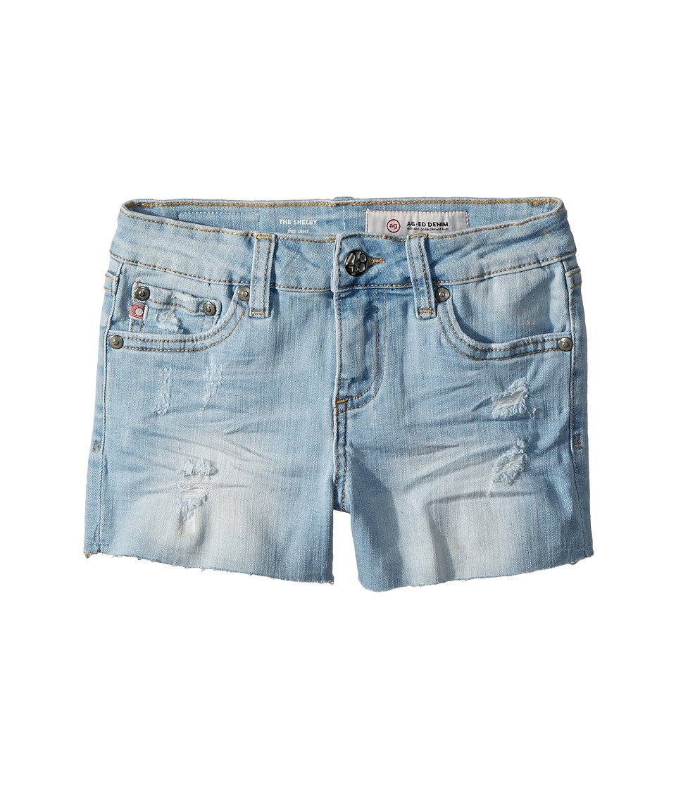 AG Adriano Goldschmied Kids - The Shelby Fray Shorts w/ Raw Hem in Seaport (Big Kids) (Sky) Girls Shorts