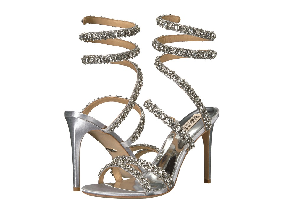 Badgley Mischka Peace (Silver Satin) Sandals