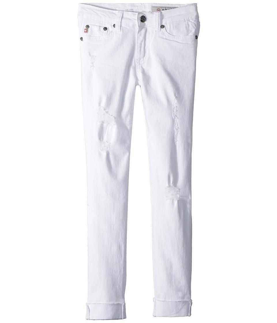 AG Adriano Goldschmied Kids - The Jane Skinny Crop Raw Edge Roll Cuff in White (Big Kids) (White) Girls Jeans