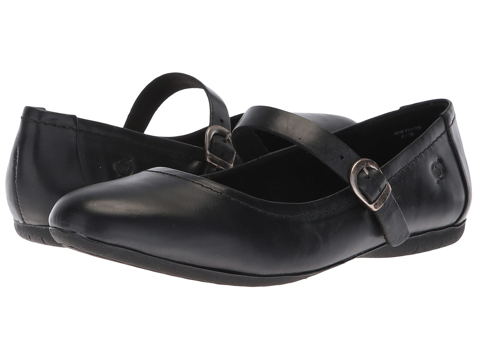 Born Maree (Black Leather) Women's Hook and Loop Shoes