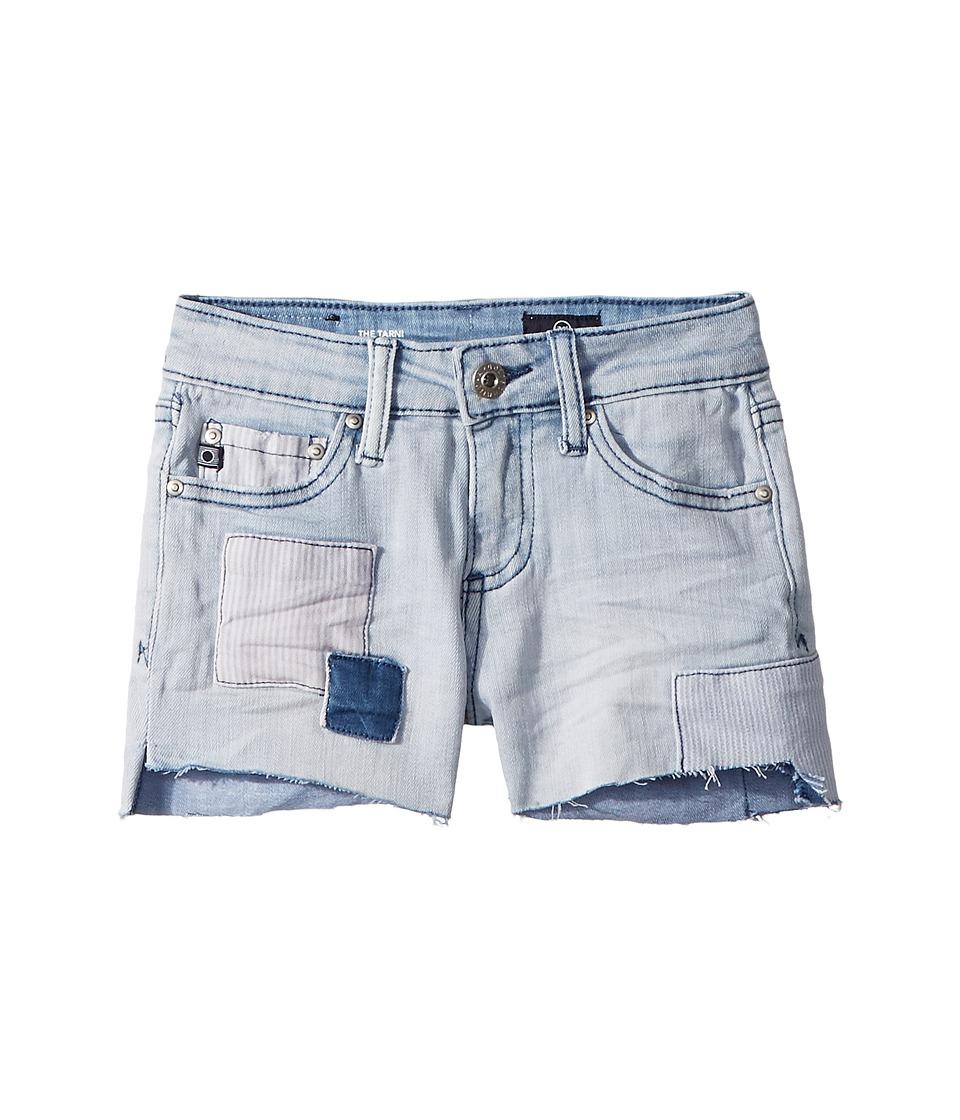 AG Adriano Goldschmied Kids - The Tarni Hi-Lo Fray Hem Patch Shorts (Big Kids) (Mongo Indigo) Girls Shorts
