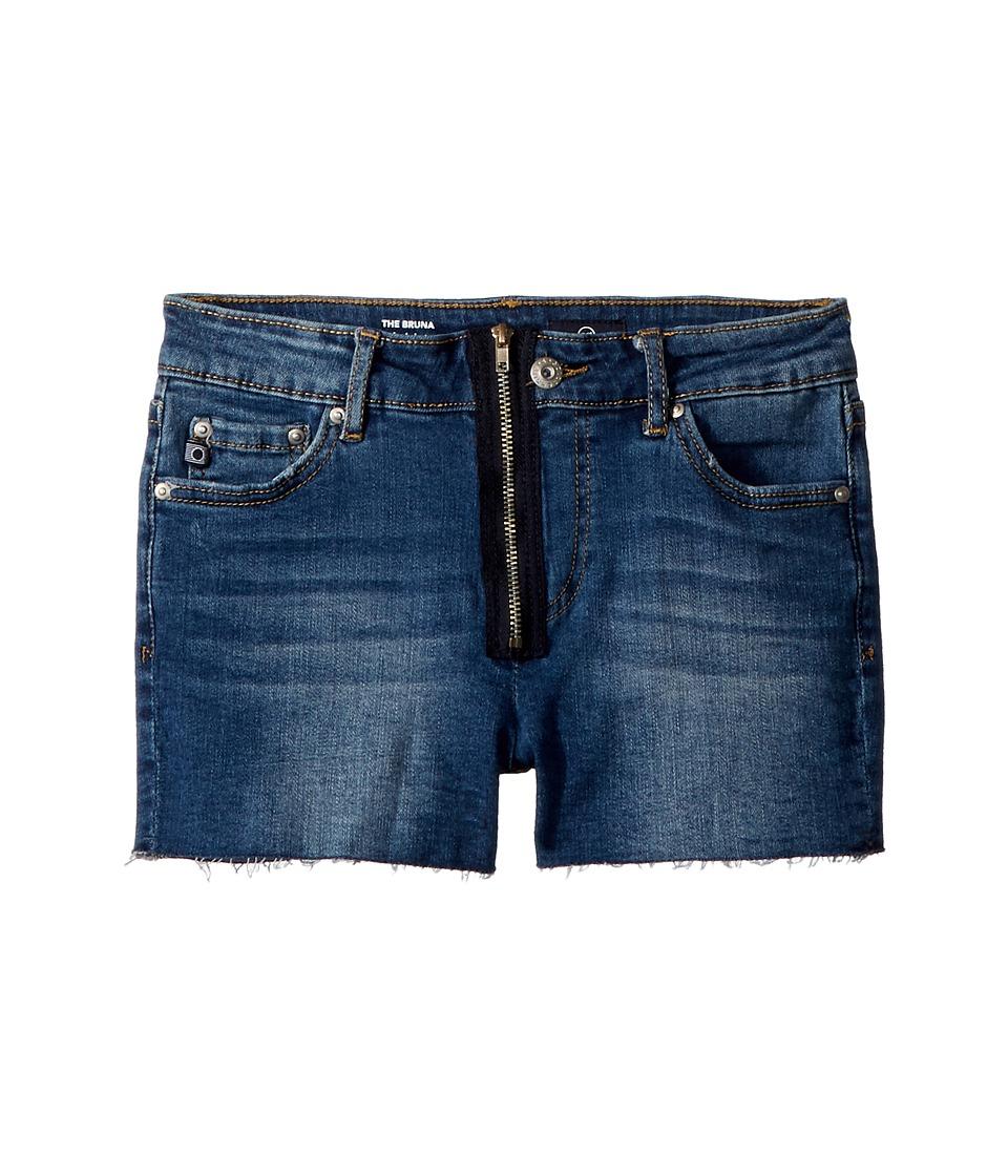 AG Adriano Goldschmied Kids - The Bruna Fray Hem Zipper Shorts (Big Kids) (Marrocan Blue) Girls Shorts