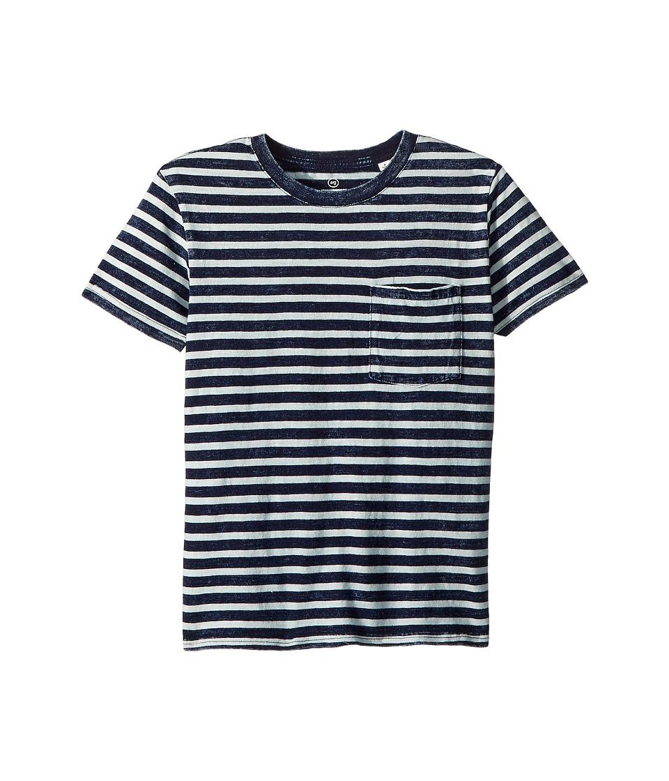 AG Adriano Goldschmied Kids - Acid Wash Striped Pocket Tee (Big Kids) (Indigo Stripe) Boys T Shirt