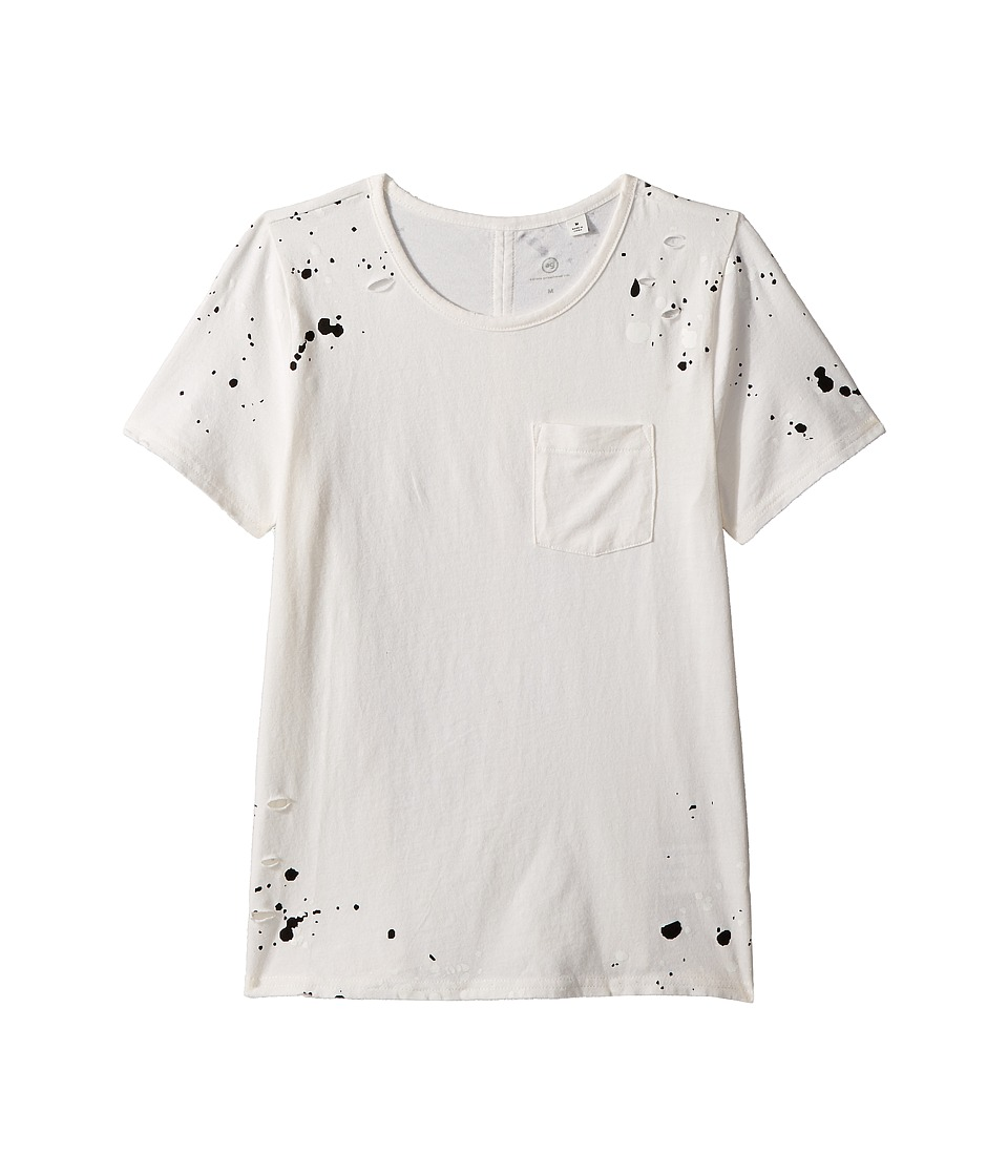 AG Adriano Goldschmied Kids - Waverly Splatter Pocket Tee (Big Kids) (Bleach White/Black) Girls T Shirt