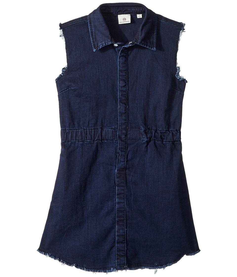 AG Adriano Goldschmied Kids - Rosanna Raw Hem Indigo Knit Shirtdress (Big Kids) (Indigo) Girls Dress