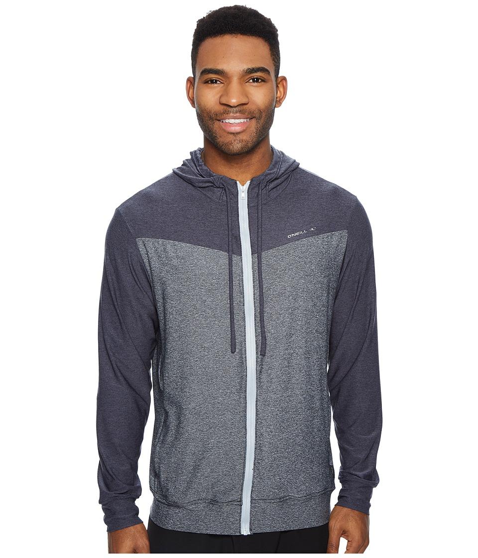 O'Neill Hybrid Zip Hoodie (Black/Slate) Men's Swimwear