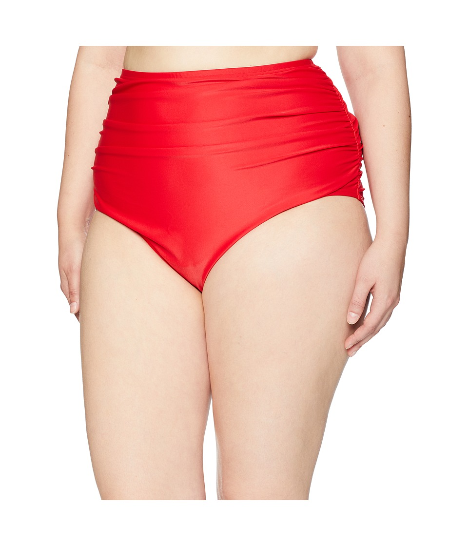 Unique Vintage - Plus Size Ruched Georgiana High-Waist Bottom (Solid Red) Womens Swimwear