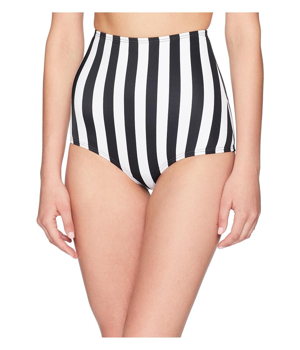 Unique Vintage - High-Waist Louise Swim Bottom (Black/White Stripe) Womens Swimwear