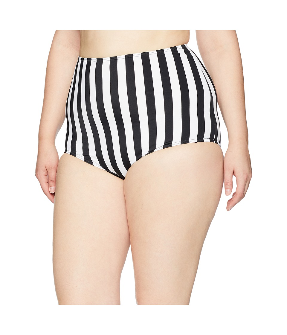 Unique Vintage - Plus Size High-Waist Louise Swim Bottom (Black/White Stripe) Womens Swimwear