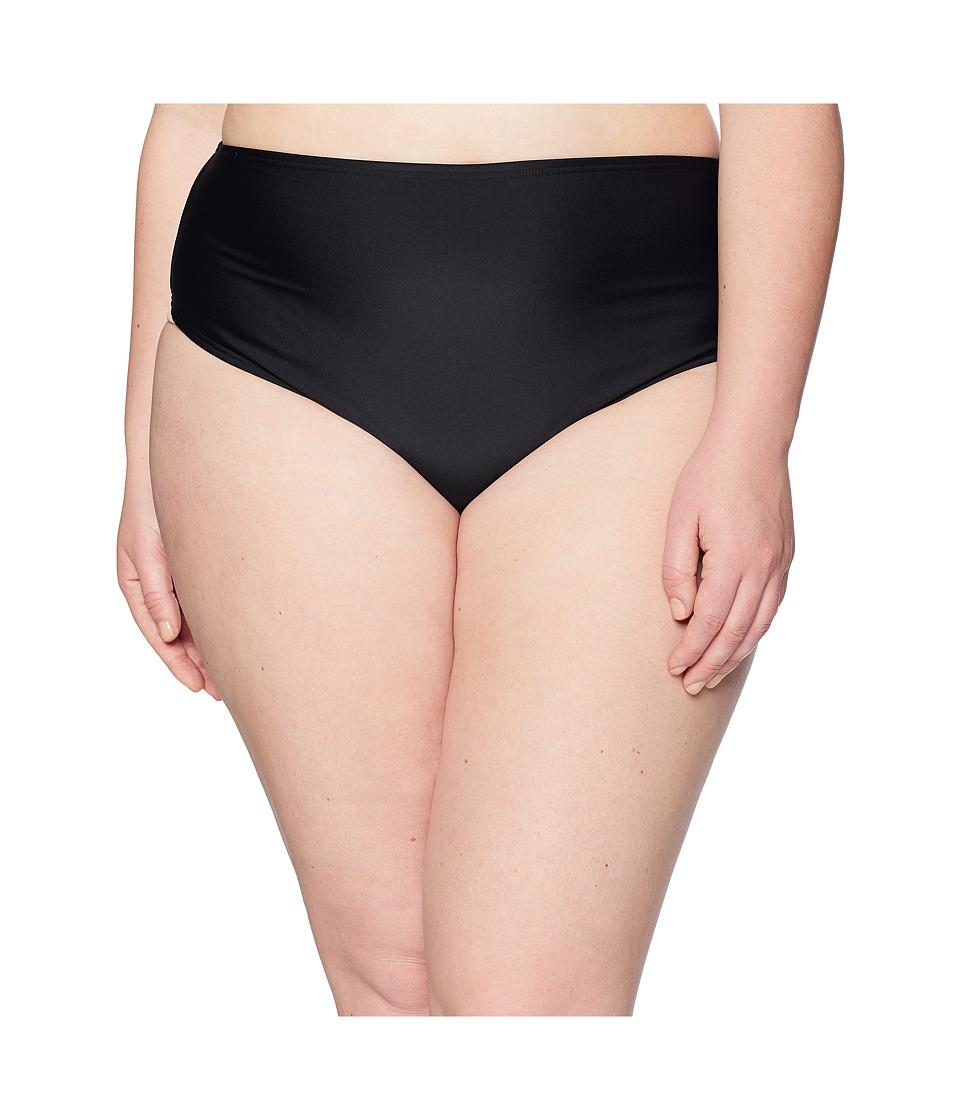 Unique Vintage - Plus Size Daphne Ruched Bottom (Solid Black) Womens Swimwear
