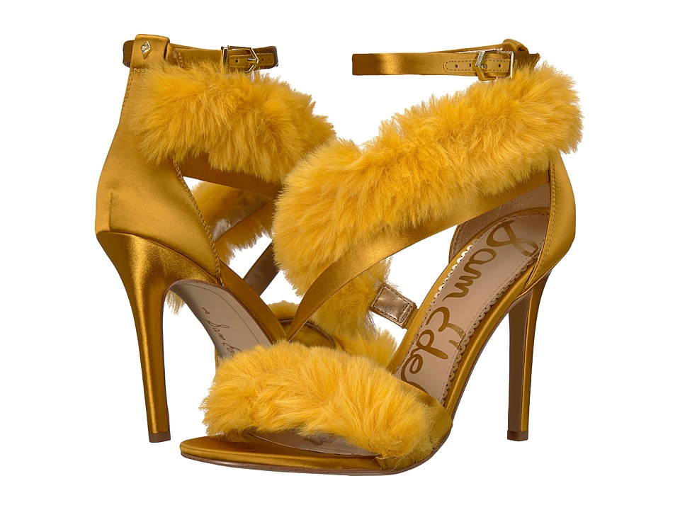 Sam Edelman Adelle (Tuscan Yellow Crystal Satin/Plush Fur) Women's Shoes