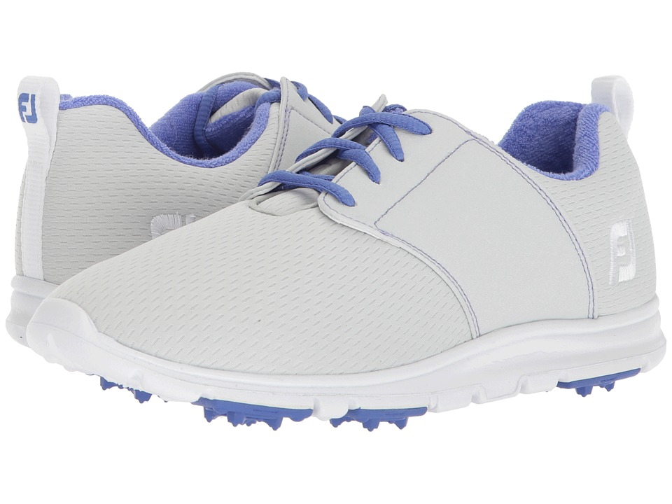 FootJoy Enjoy Spikeless Mesh Saddle (Light Grey/Lime Trim/Royal Blue) Women's Golf Shoes