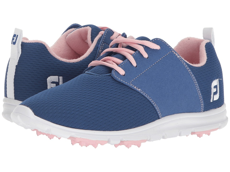 FootJoy Enjoy Spikeless Mesh Saddle (Blue/Coral Trim/Pink) Women's Golf Shoes