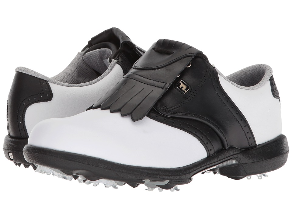FootJoy DryJoys Cleated Traditional Blucher Saddle (White/Black) Women's Golf Shoes