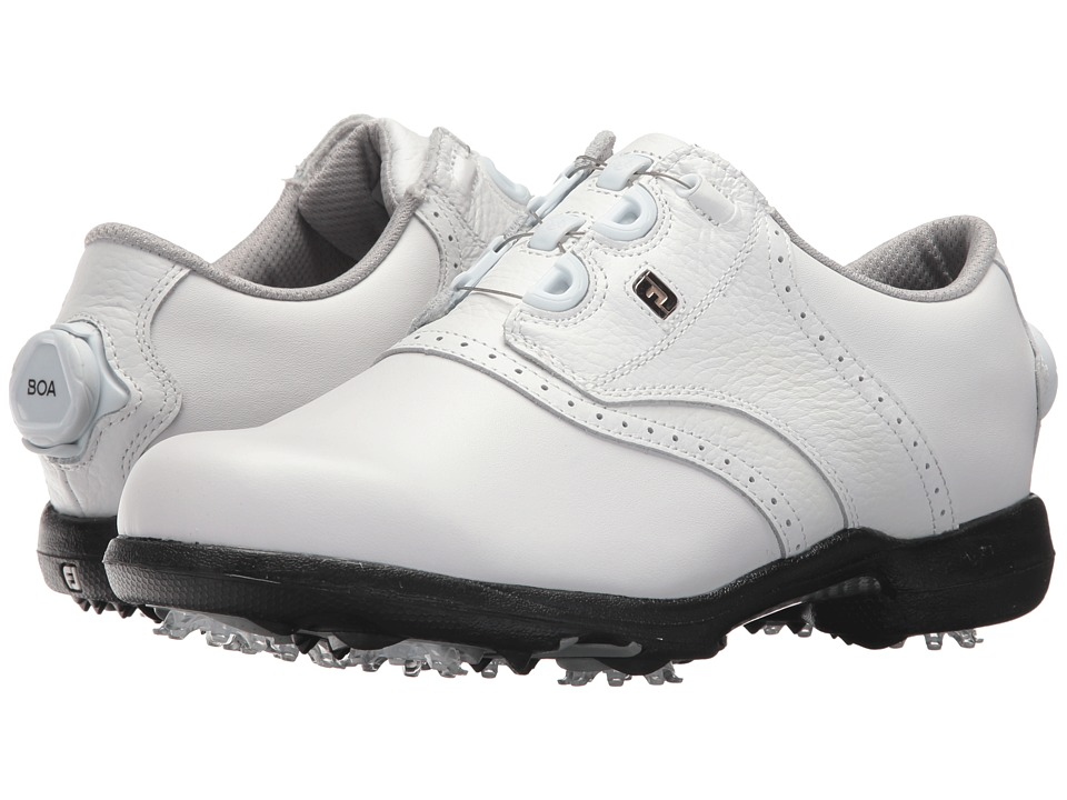 FootJoy DryJoys Cleated BOA Traditional Blucher Saddle (All Over White) Women's Golf Shoes