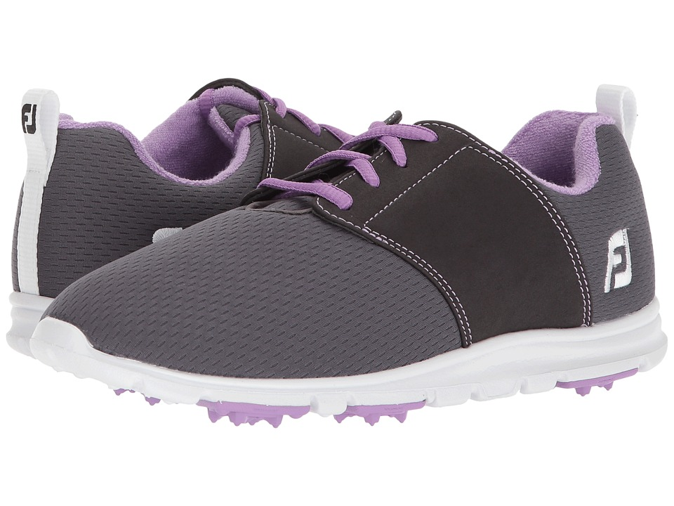 FootJoy Enjoy Spikeless Mesh Saddle (Charcoal/Violet Trim) Women's Golf Shoes