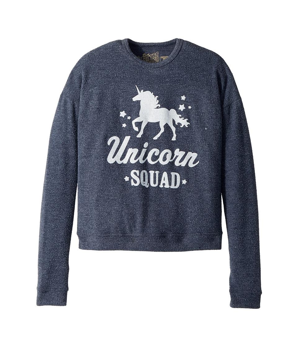 The Original Retro Brand Kids - Unicorn Squad Super Soft Haaci Pullover (Big Kids) (Navy) Girls Clothing