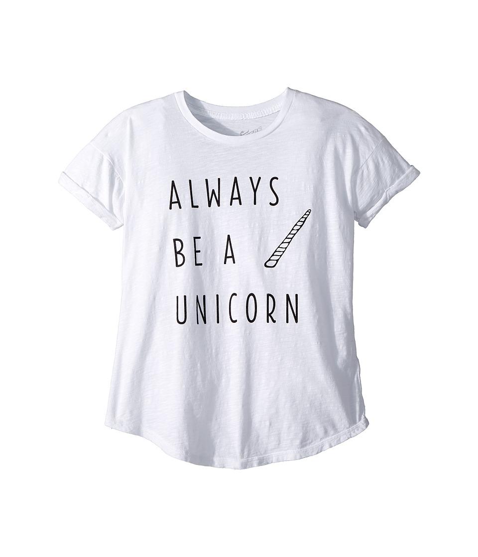The Original Retro Brand Kids - Always Be A Unicorn Short Sleeve Slub Tee (Big Kids) (White) Girls Clothing