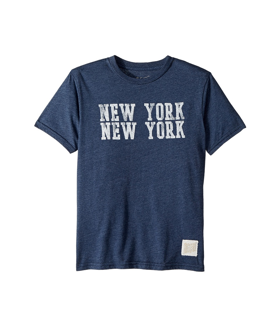 The Original Retro Brand Kids - New York New York Heathered Tee (Big Kids) (Heather Navy) Boys Clothing
