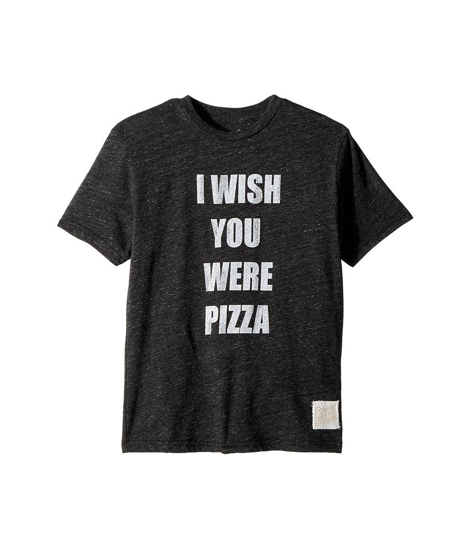 The Original Retro Brand Kids - Wish You Were Pizza Short Sleeve Tri-Blend Tee (Big Kids) (Streaky Black) Boys Clothing