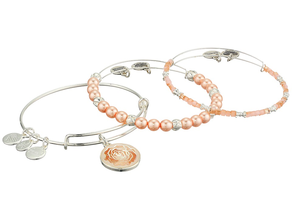 Alex and Ani - Art Infusion Rose Bracelet Set of 3 (Shiny Silver) Bracelet