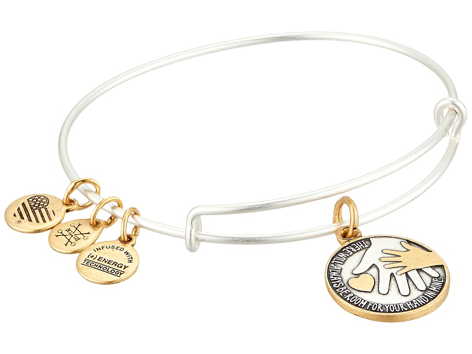Alex and Ani - Hand in Hand II Two-Tone Bangle (Rafaelian Silver) Bracelet
