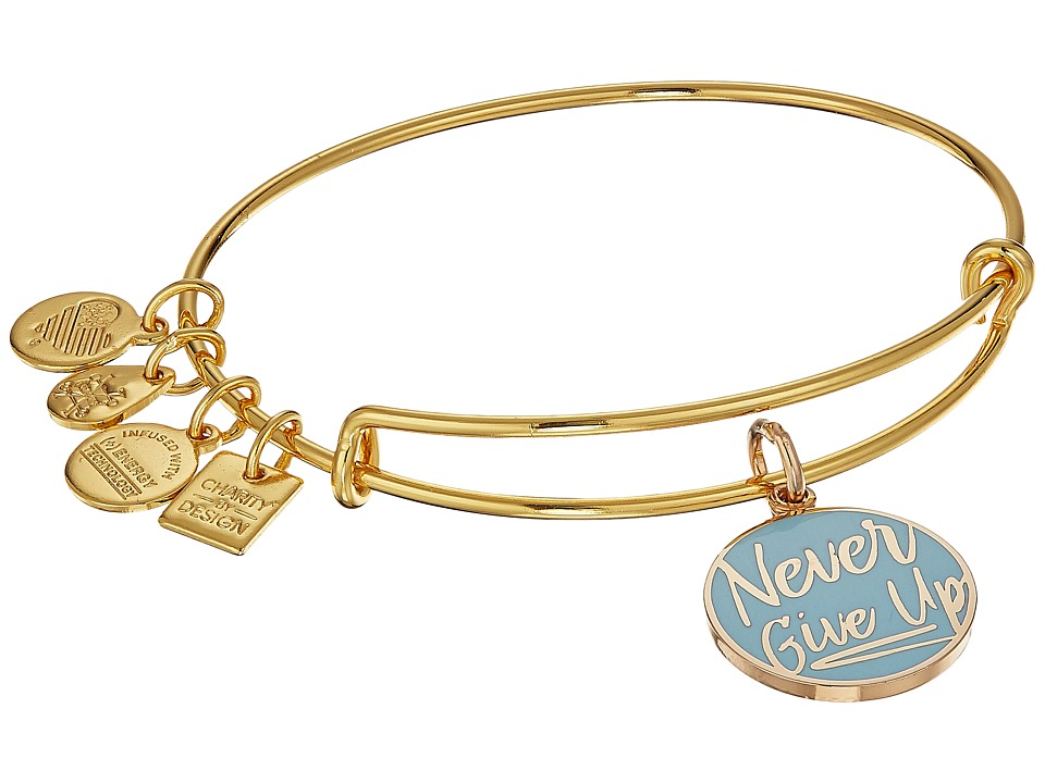 Alex and Ani - Charity By Design Never Give Up Bangle (Shiny Gold) Bracelet