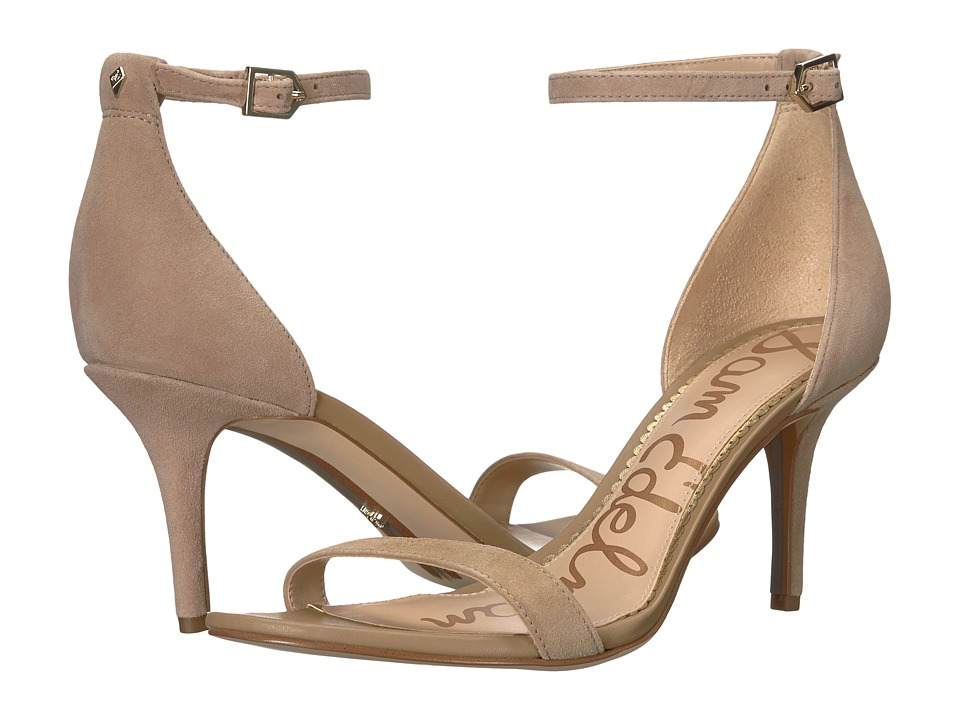Sam Edelman Patti Strappy Sandal Heel (Oatmeal Kid Suede Leather) High Heels