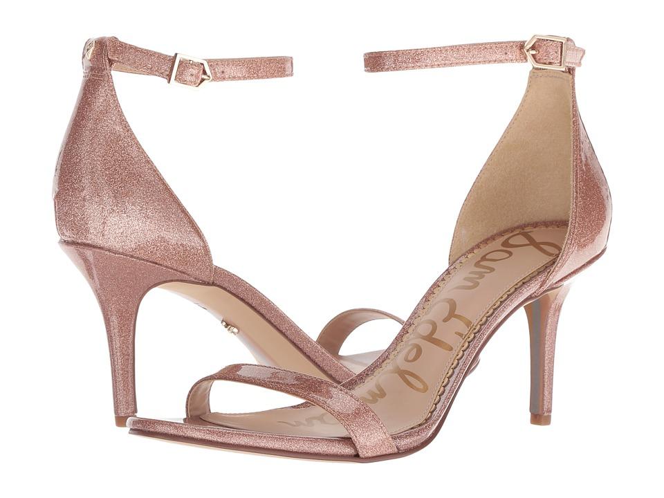 Sam Edelman Patti Strappy Sandal Heel (Nude Glitter Patent) High Heels