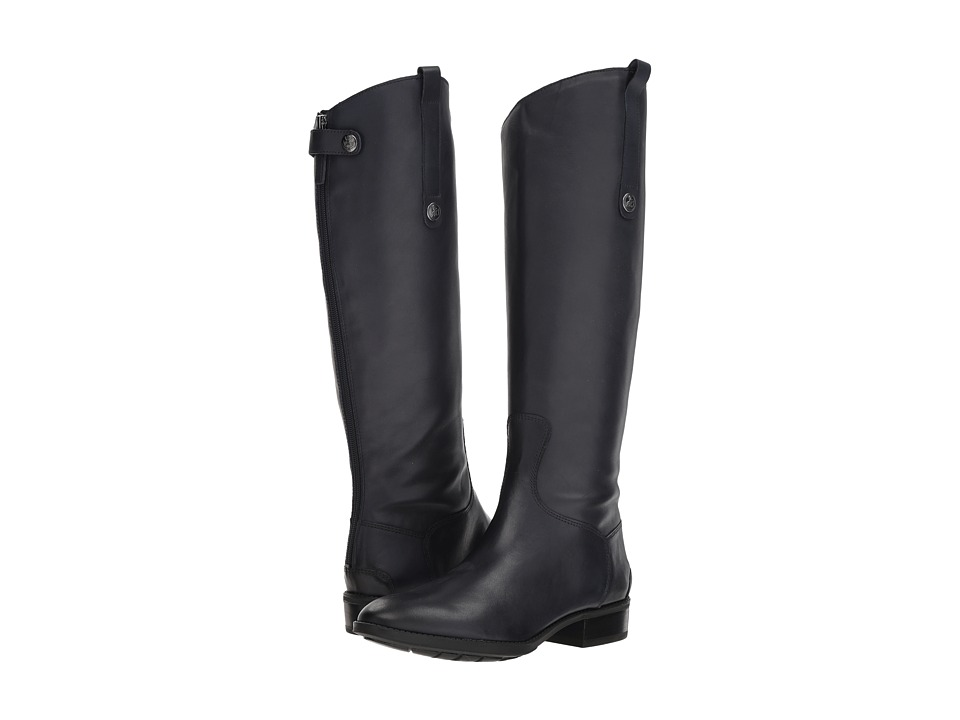 Sam Edelman Penny Leather Riding Boot (Inky Navy Basto Crust Tumbled Leather)